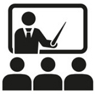 training icon of instructor teaching students
